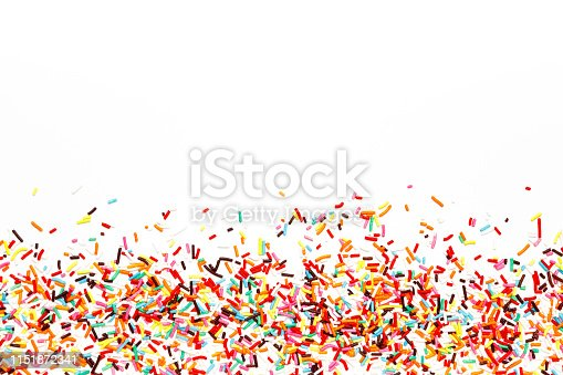 Multicolored Sugar sprinkle dots, decoration for cake, isolated on white. Birthday and holiday background. Flat lay, top view. copy space