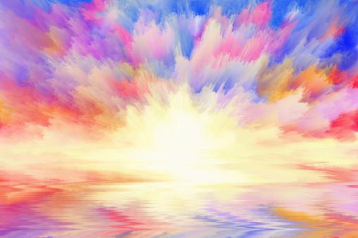 istock multicolored sunrise, art background 938484400