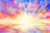 multicolored sunrise, art background