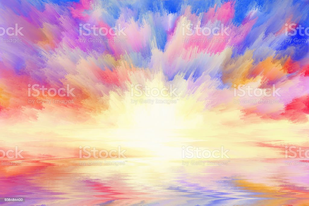multicolored sunrise, art background stock photo