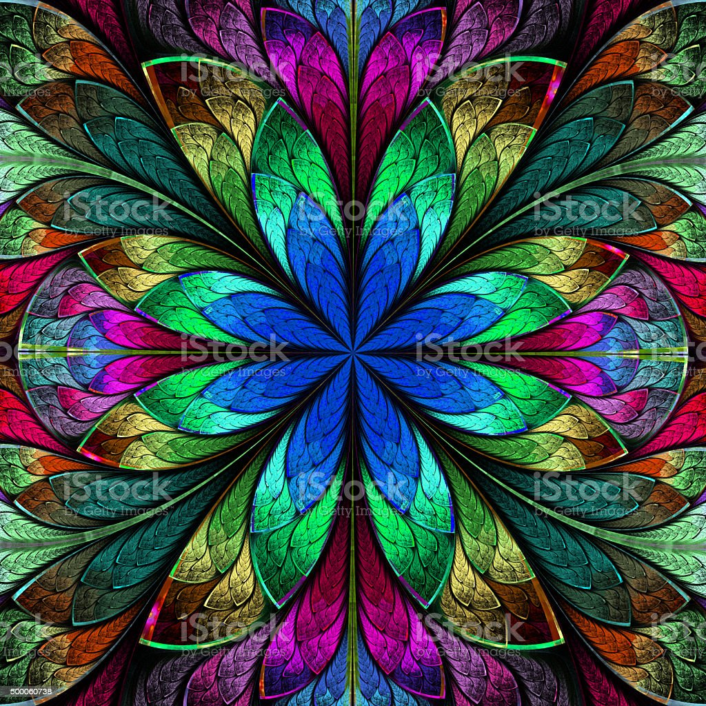 Multicolored symmetrical fractal flower in stained-glass window stock photo