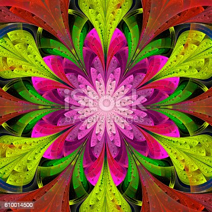 Multicolored symmetrical fractal flower in stained-glass window style. Artwork for creative design, art and entertainment.