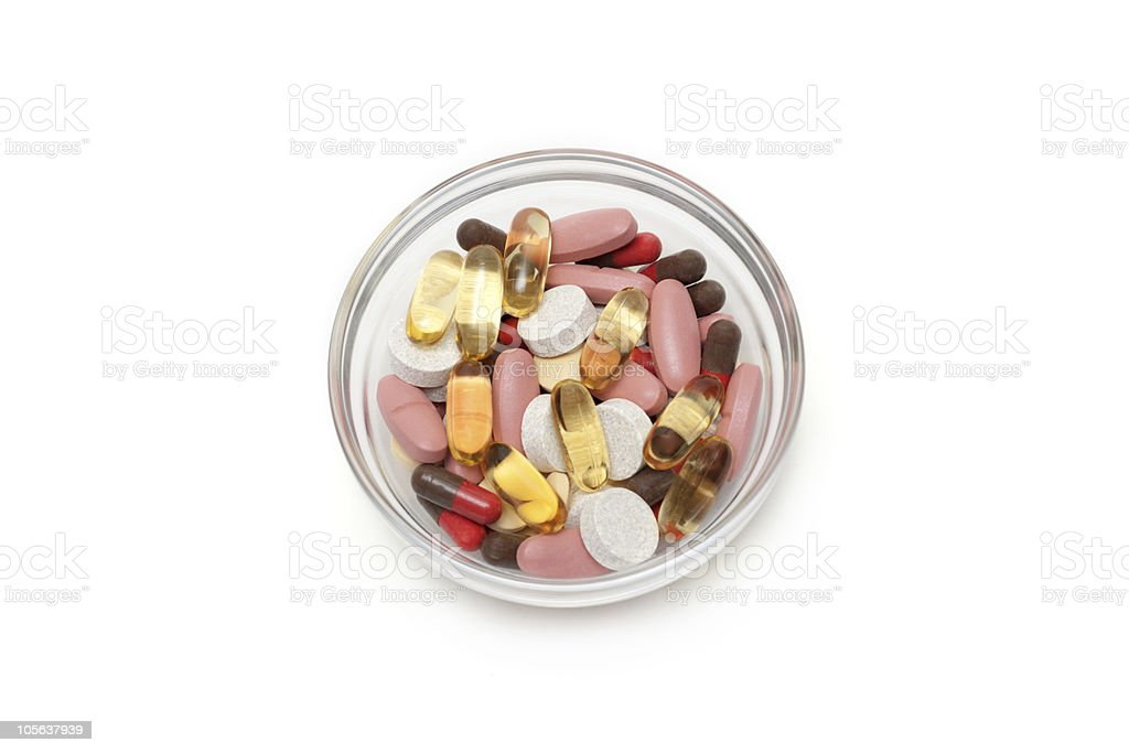 Multicolored tablets and capsules royalty-free stock photo