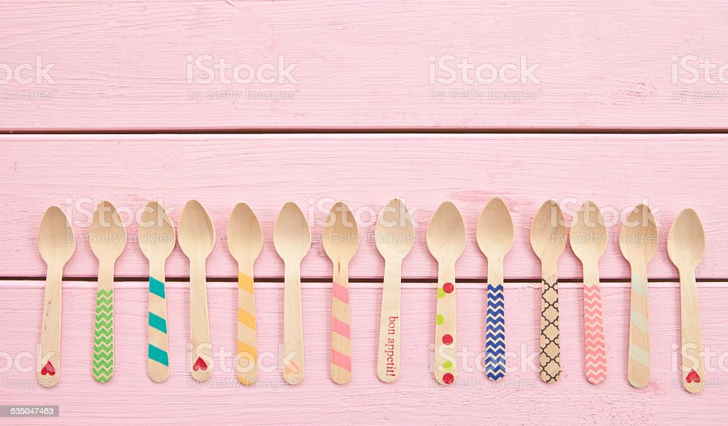 Multicolored tea spoons stock photo