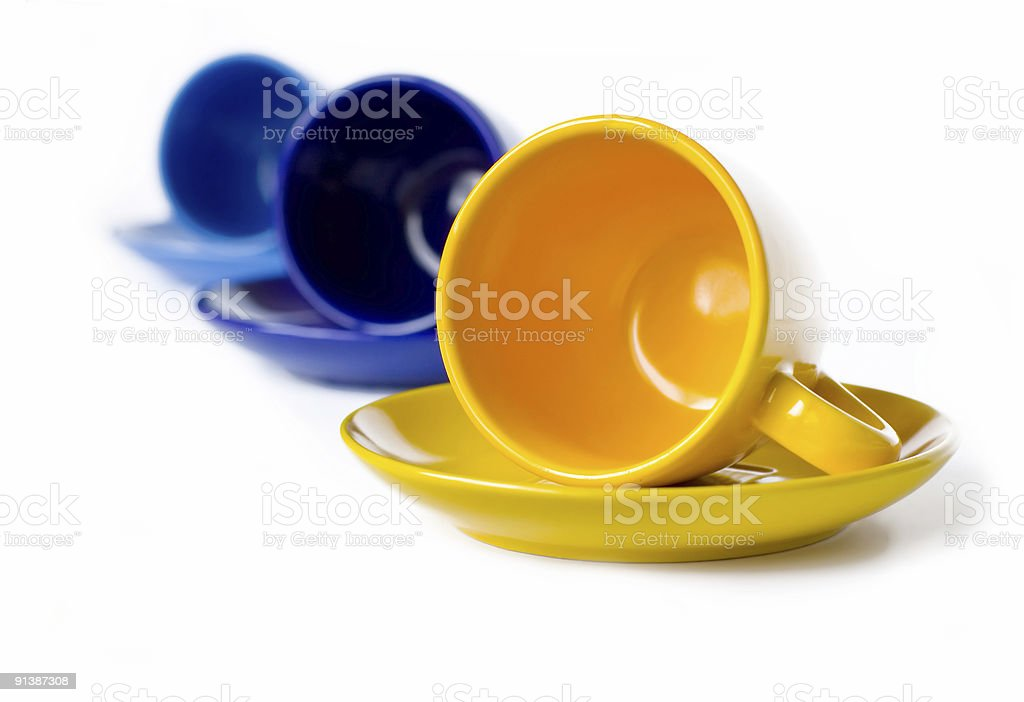 Multicolored teacups royalty-free stock photo