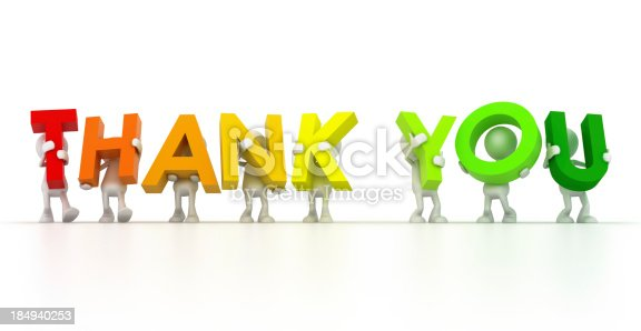 istock Multicolored thank you held up by cartoon men 184940253
