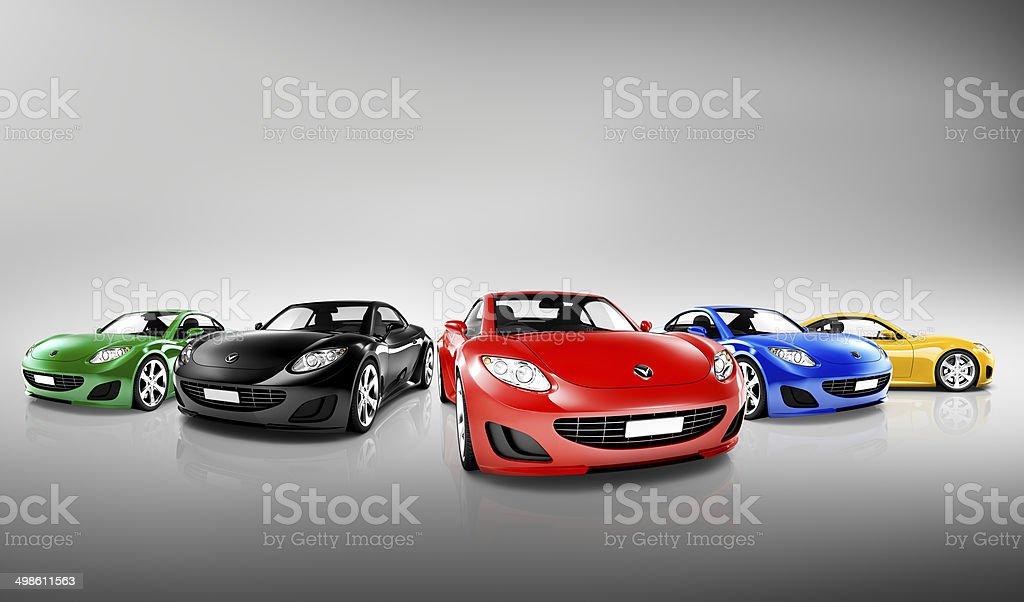 Multicolorida tridimensional moderno de carros - foto de acervo