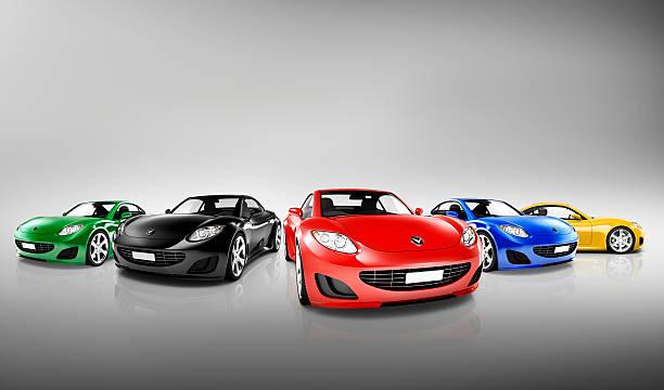 Multicolored Three Dimensional Modern Cars stock photo