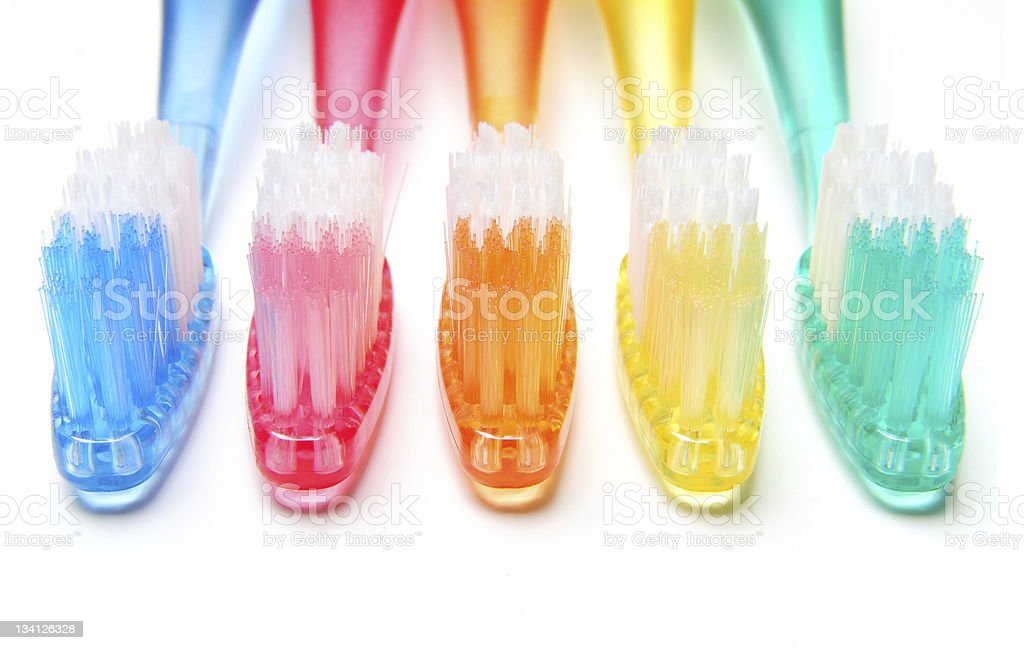 Multicolored Toothbrushes stock photo