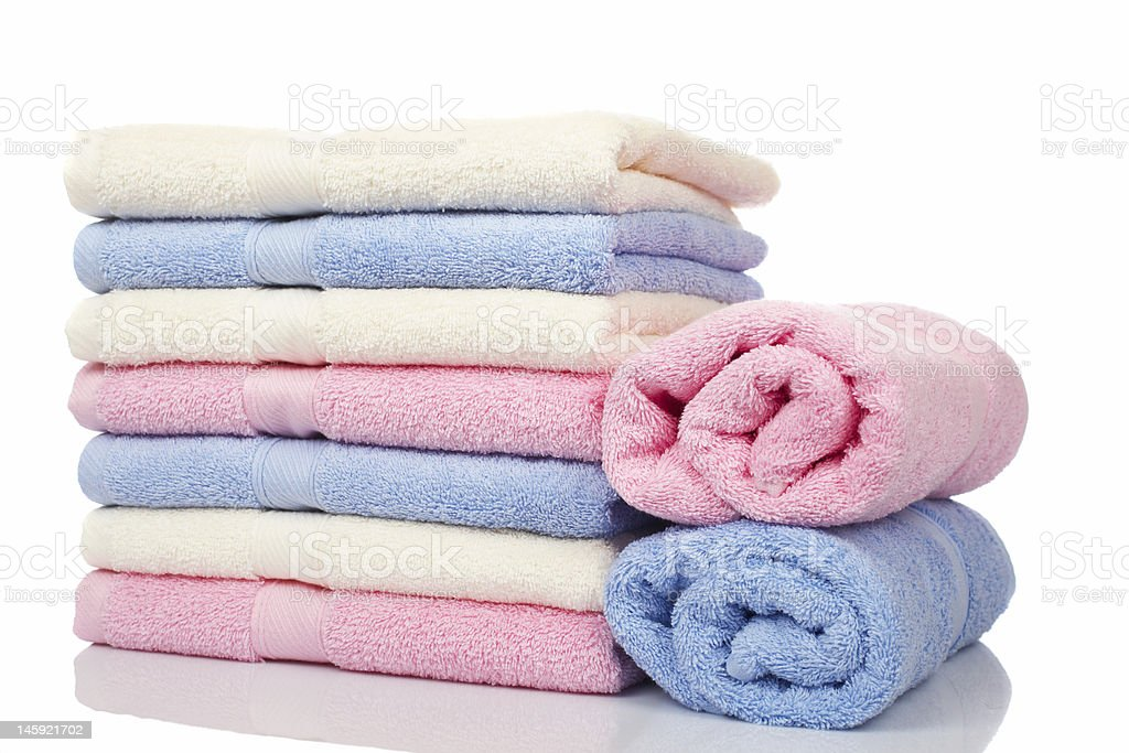 Multicolored towels stacked royalty-free stock photo