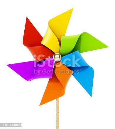 istock Multi-colored toy weather vane isolated on white 1161744863