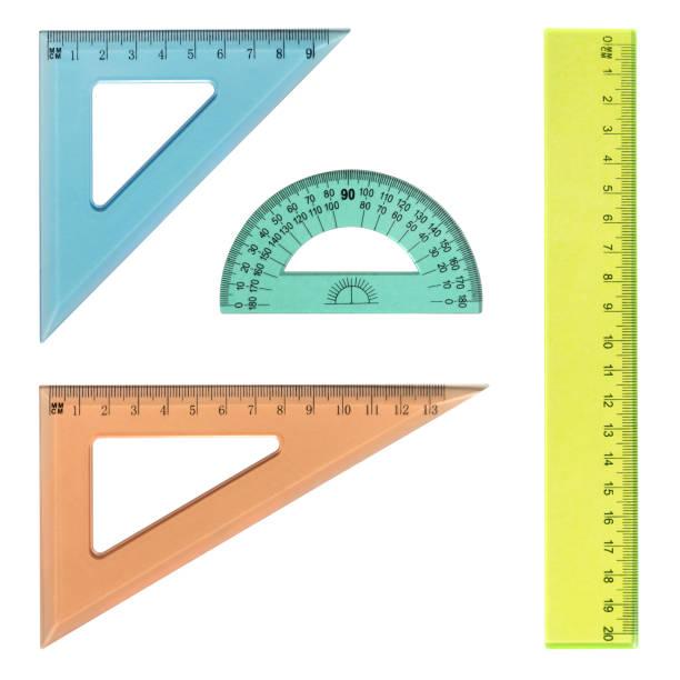 reglas transparentes multicolores aisladas en blanco - geometría fotografías e imágenes de stock
