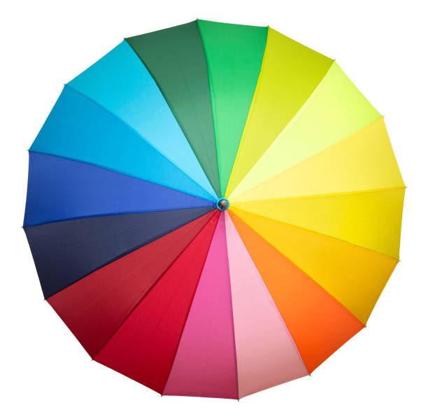 multicolored umbrella isolated – zdjęcie