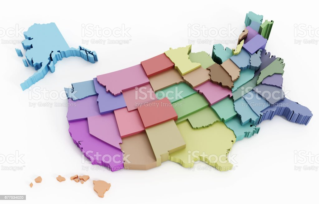 Multi-colored USA map showing state borders stock photo