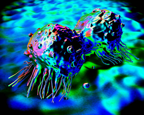 A multicolored view of a cancer cell stock photo