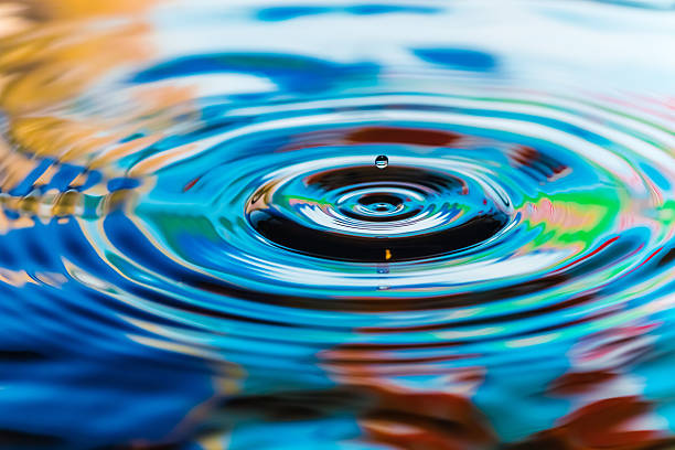 multicolored water drops multicolored water drops rippled stock pictures, royalty-free photos & images