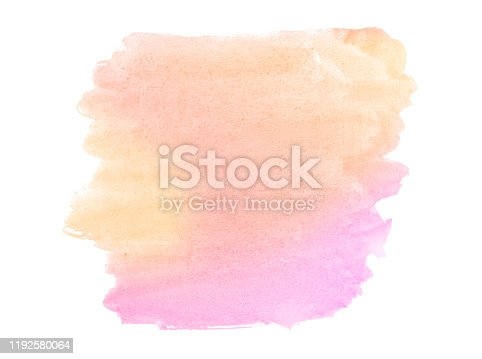Multicolored watercolor stains in pastel colors with natural stains on a paper basis. Abstract background with unique streaks of paint. Isolated frame for design.
