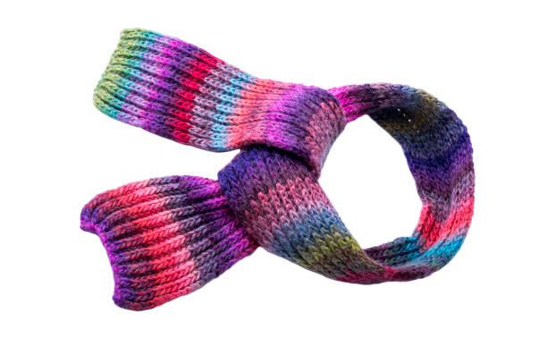 multi-colored winter schal. - wollschal stock-fotos und bilder