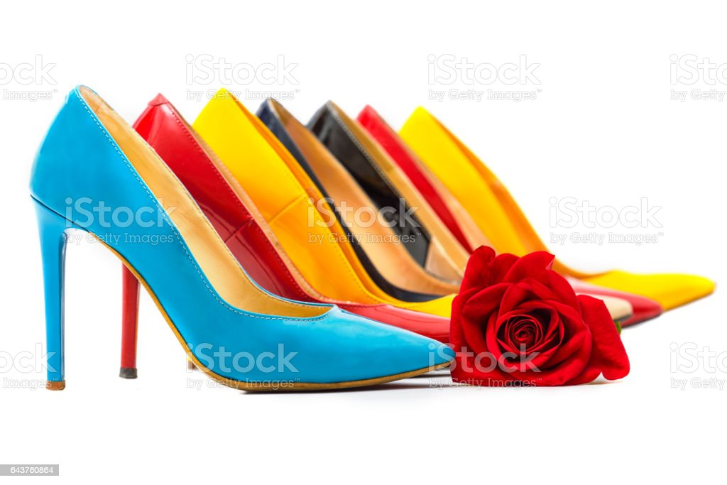 Multicolored women's shoes with high heels stock photo
