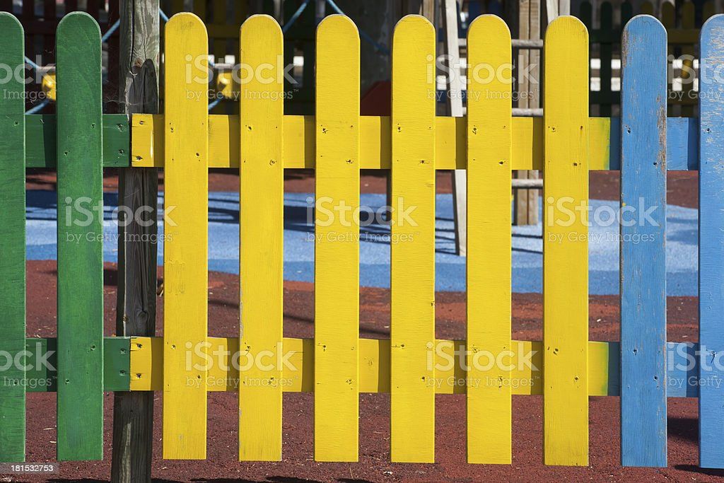 Multicolored Wooden Fence royalty-free stock photo