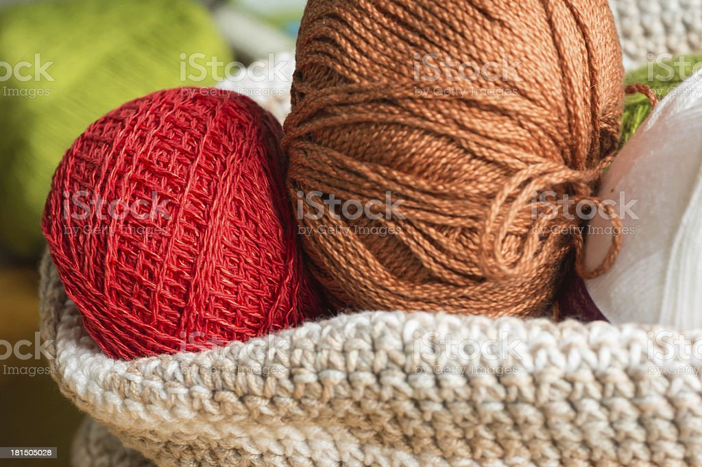 Multi-colored yarn in a knitted basket royalty-free stock photo
