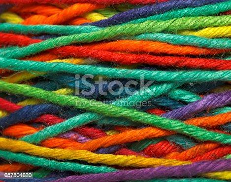 istock Multicolored yarn roll 657804620