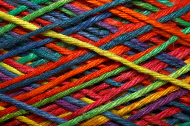 Multicolored yarn roll stock photo