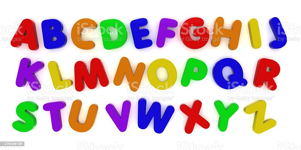 Multicoloured Alphabet Fridge Magnet Letters Background stock photo