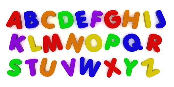 multicoloured alphabet fridge magnet letters background - alphabetical order stock pictures, royalty-free photos & images