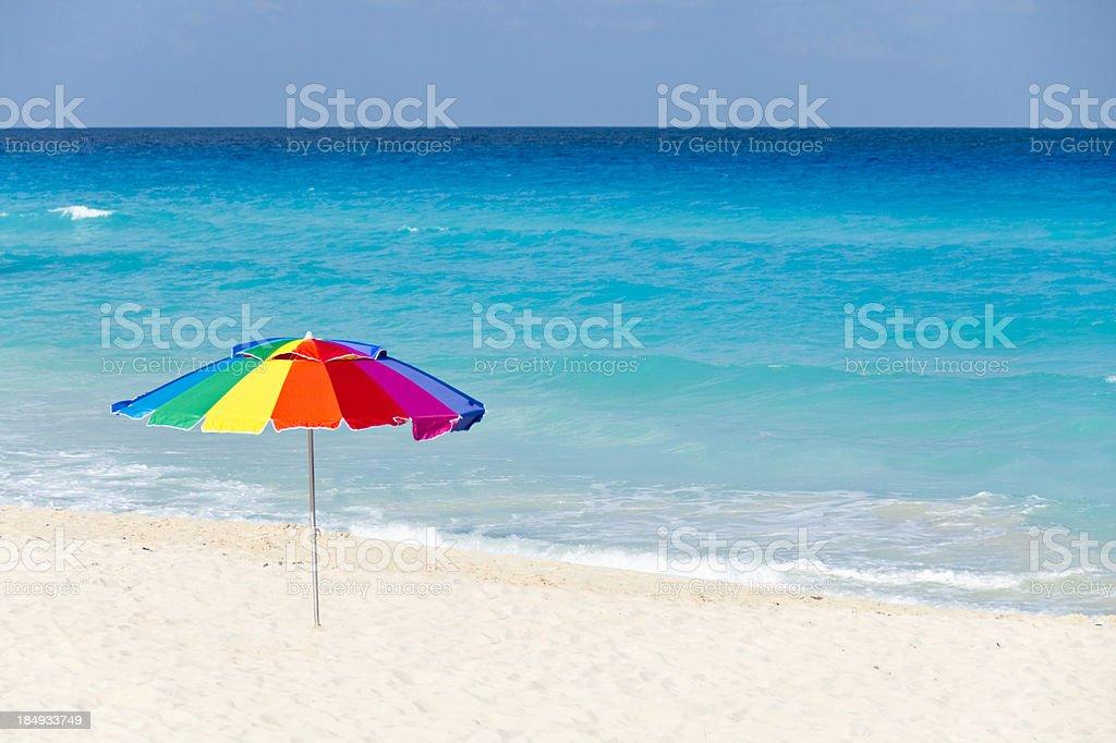 Multi-Coloured Beach Parasol stock photo