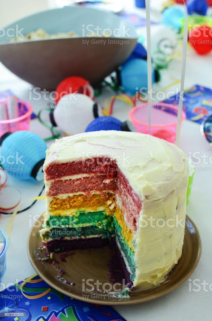 Bunten Regenbogen Kuchen Schneiden In Der Mitte Sechs