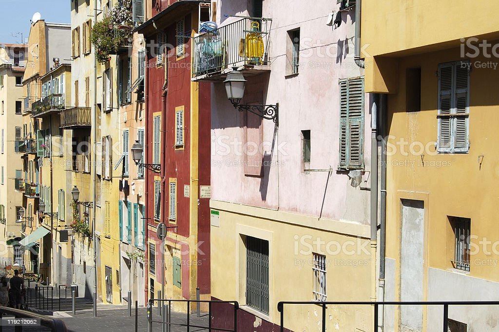 Multicoloured buildings in Nice Old Town. France royalty-free stock photo