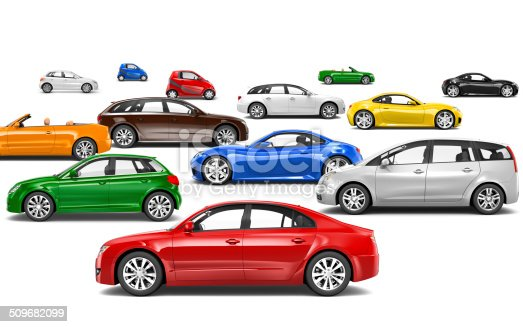 istock 3D Multicoloured Cars Parked on Different Directions 509682099