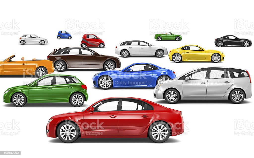 3D Multicoloured Cars Parked on Different Directions stock photo