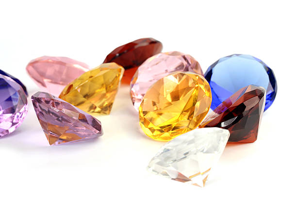 multi-coloured crystals - sapphire gemstone stock photos and pictures