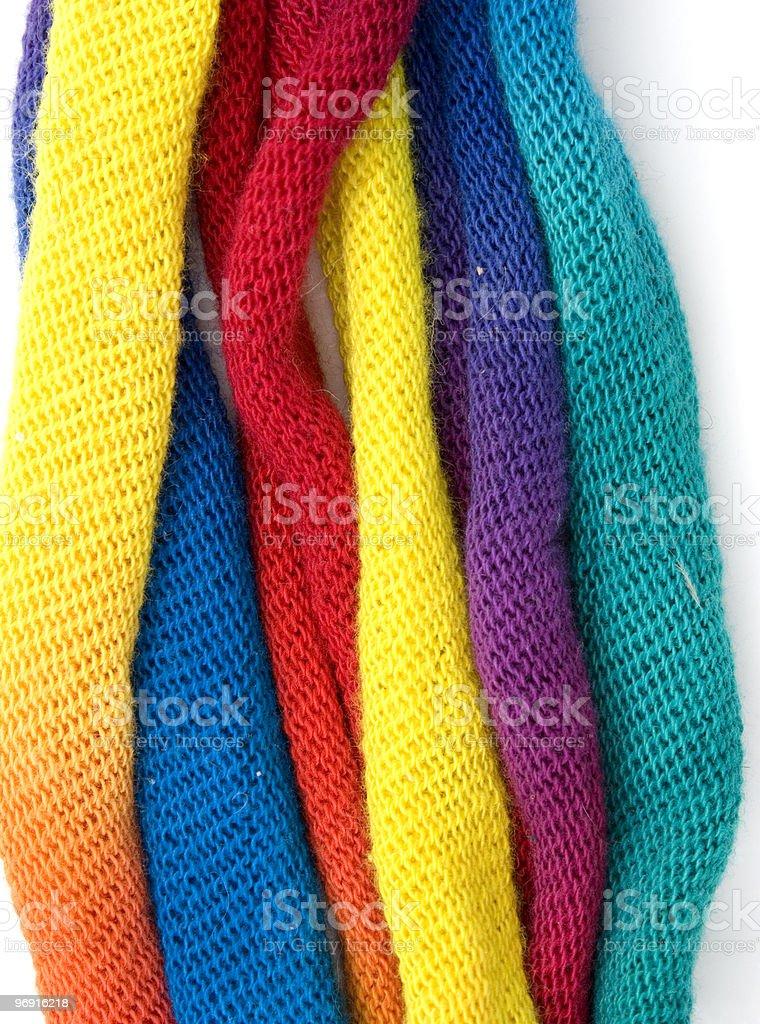 Multicoloured fabrics on white royalty-free stock photo