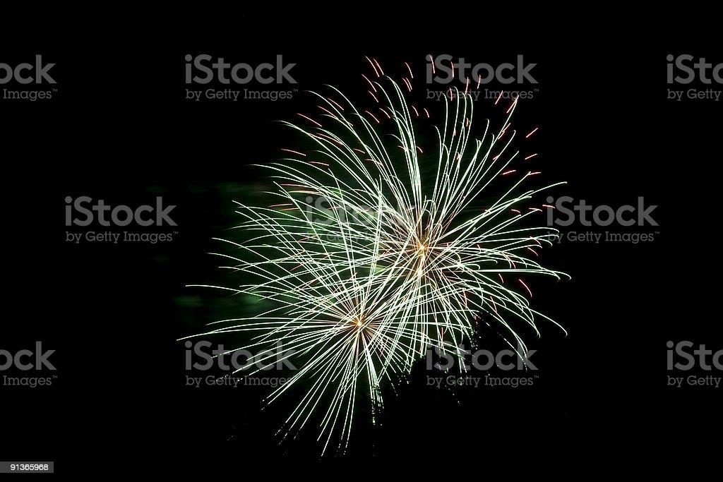 Multicoloured Fireworks on a Black Background, Night Scene royalty-free stock photo