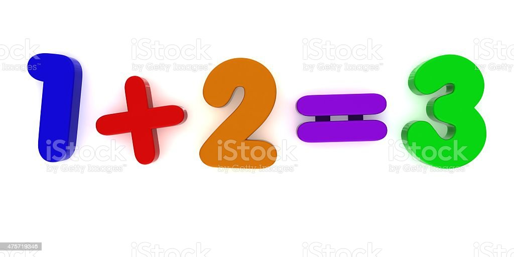 1+2 Multicoloured Fridge Magnet Sum stock photo