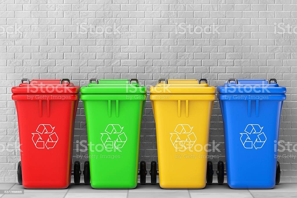 Multicoloured Garbage Trash Bins. 3d Rendering royalty-free stock photo
