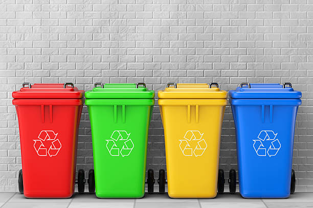 Multicoloured Garbage Trash Bins. 3d Rendering stock photo