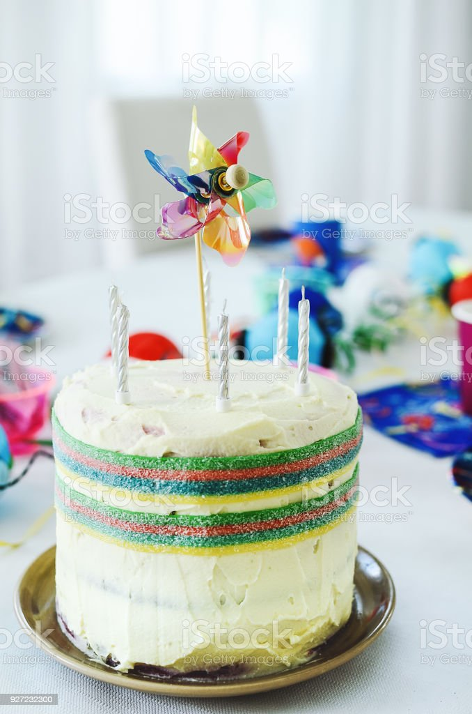 Fantastic Multicoloured Kids Birthday Rainbow Cake With Six Candles And Personalised Birthday Cards Paralily Jamesorg