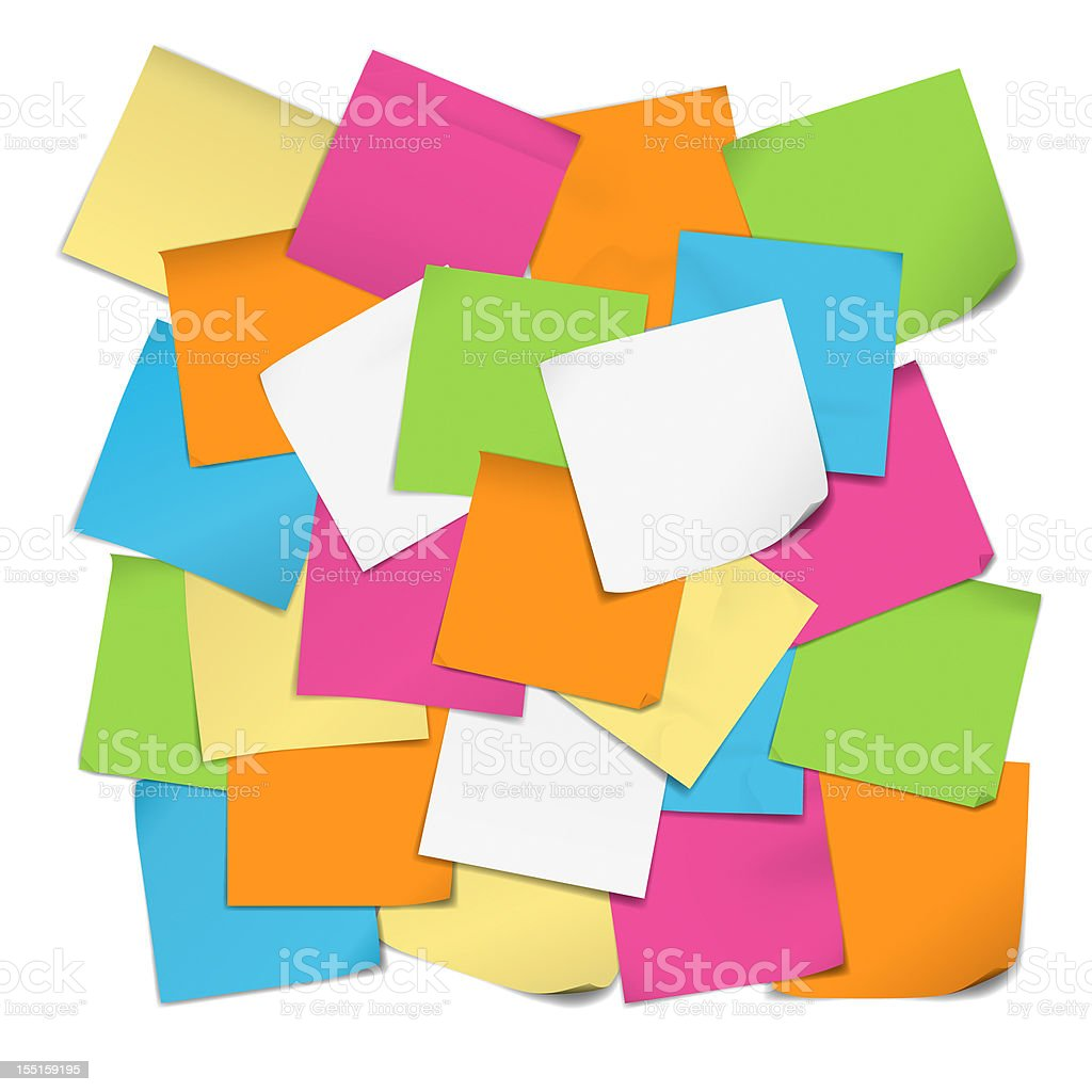Multicoloured Note Paper Isolated on White Background stock photo