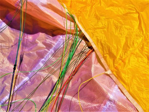 Multicoloured parachute material stock photo