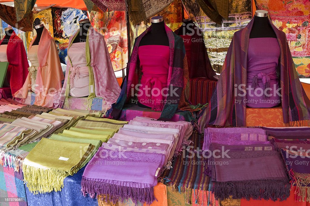 Multicoloured scarves royalty-free stock photo