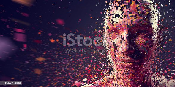An abstract image of a large amount of multi-coloured squares in mid air moving at speed, with motion blur, to form a head looking towards the left side of the image. Could be used to illustrate many concepts including: AI, neuroscience, technology, creativity.