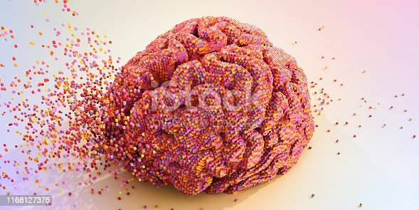 A conceptual image of many multi-coloured toy bricks moving together to form a model foa human brain. The model brain is resting on a plain pastel coloured surface, and bricks are suspended in mid air. Concepts: Neuroscience, artificial intelligence, mental health, creativity
