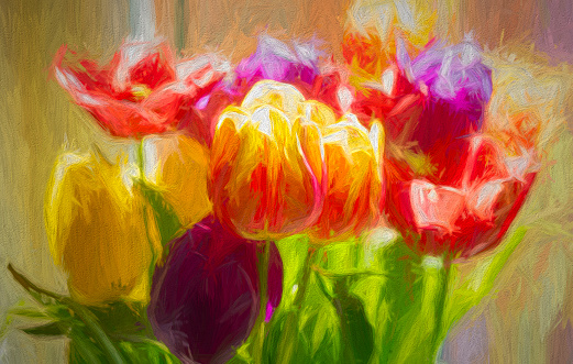 Multicoloured Tulips in a bunch post processed to give a painterly effect.