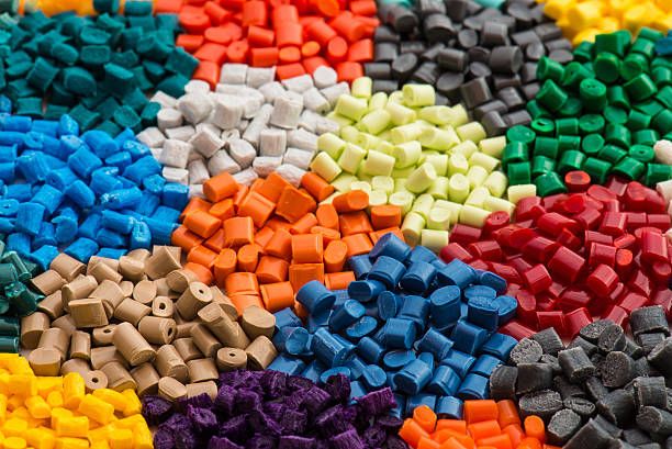 multicolrored plastic resins stock photo