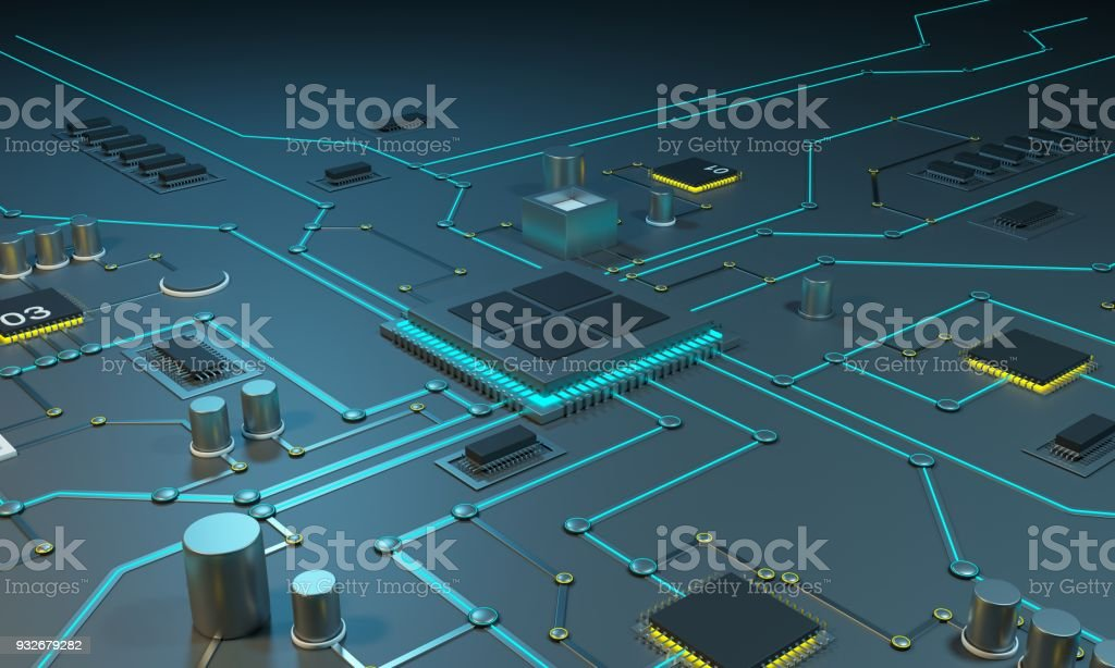 Multicore processor on an integrated circuit. Data streams. Neon lines. Integrated circuits. Chips RAM stock photo