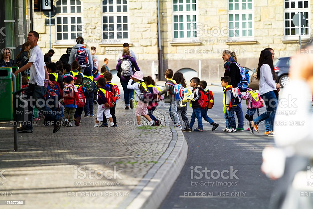 Multicultual group of kindergarden kids in Ruhrgebiet stock photo
